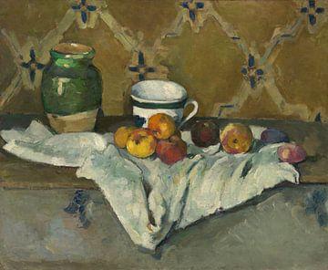 Paul Cézanne. Stilleben mit Jar, Cup und Äpfeln