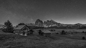 Seiseralm - Die Seiser Alm bei Nacht - Schwarz-Weiß