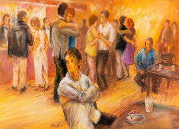 Café dansant - Hans Sturris - Oliepastel op papier van Galerie Ringoot