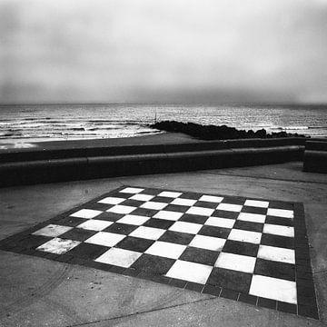 Wimereux Normandie schaakbord aan het strand van . Groningenart