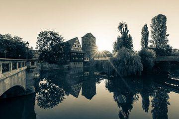 Oude stad van Neurenberg - Monochroom van Werner Dieterich