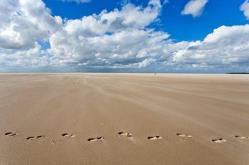 Voetsporen in het zand van het strand nabij de Horspolder van