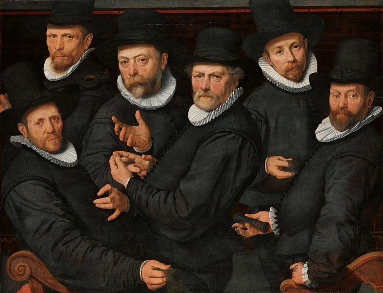 Zes waardijns van de lakenen, Pieter Pietersz. (I) van Meesterlijcke Meesters