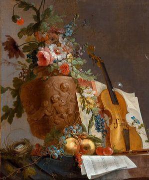 Stillleben mit Blumen und einer Geige, Jean-Jacques Bachelier