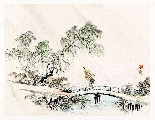 Een man die in de regen de brug oversteekt door Kōno Bairei