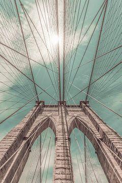 NEW YORK CITY Brooklyn Bridge im Detail | urbaner Vintage-Stil von Melanie Viola