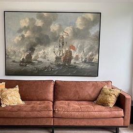 Klantfoto: VOC Zeeslag schilderij: Het verbranden van de Engelse vloot voor Chatham, 20 juni 1667, Peter van de, op canvas