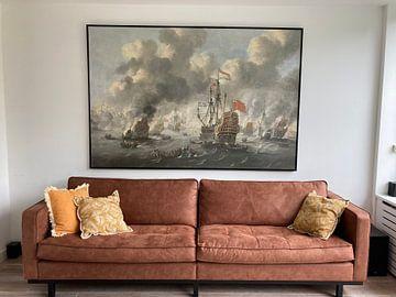 Klantfoto: VOC Zeeslag schilderij: Het verbranden van de Engelse vloot voor Chatham, 20 juni 1667, Peter van de