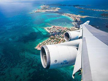 Sint Maarten van bovenaf met de KLM Boeing 747 van