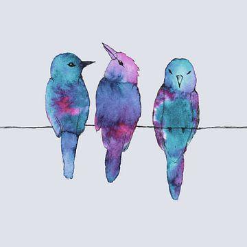 Drie vogels op een draad van Bianca Wisseloo