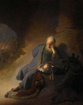 Jeremia beklagt die Zerstörung Jerusalems - Rembrandt van Rijn