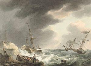 Schiffbruch von zwei Schiffen, eines unter amerikanischer Flagge, an einer Dünenküste, Martinus Scho