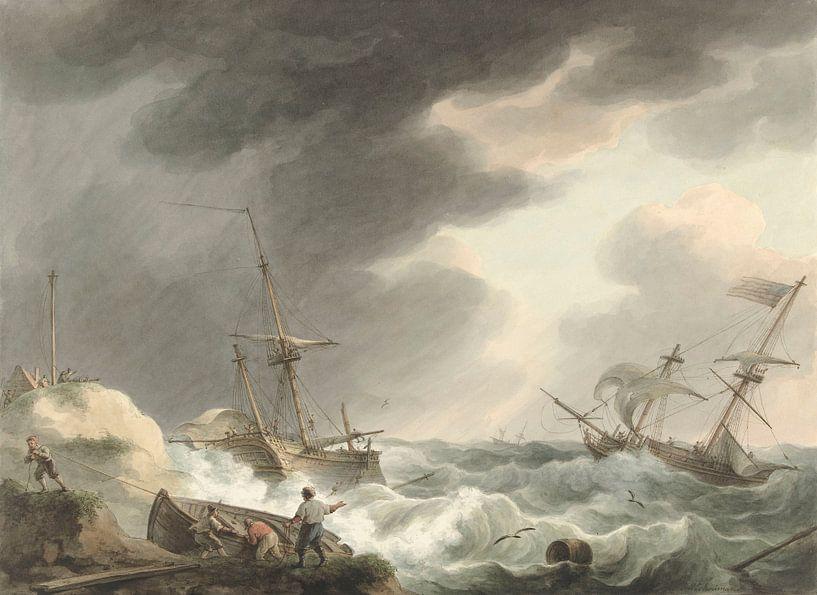 Schiffbruch von zwei Schiffen, eines unter amerikanischer Flagge, an einer Dünenküste, Martinus Scho von Meesterlijcke Meesters