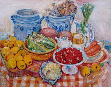 Stillife with radishes - oilpaint on canvas 45x55cm 1988 von Hubertine Heijermans