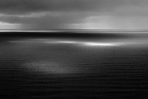 Uitzicht over zee/oceaan, Reynisfjall, Vik, IJsland (zwart-wit) van