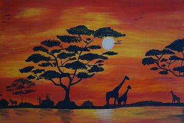Savanne - Fluss - Giraffen van Babetts Bildergalerie