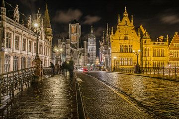 Gent at night van Jan Hagen