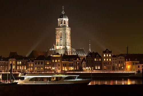 Illuminated skyline of the city of Deventer