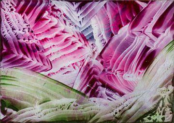 Encaustic Art roze blauw zwart grasgroen lime paars