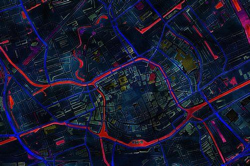 Kaart van Groningen donker van