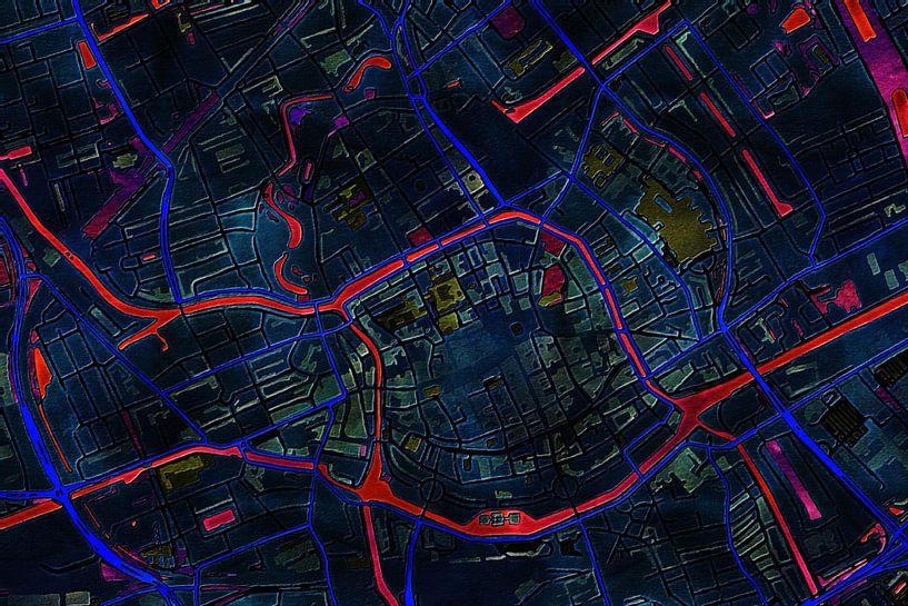 Kaart van Groningen donker van Stef Verdonk
