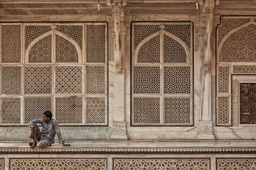 Detail van het Fatehpur Sikri in India. Een weergave van het graf van Salim Chishti van Tjeerd Kruse
