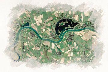 Karte von Maasbommel und Umgebung Aquarellstil von Aquarel Creative Design