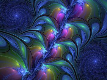 Colorful Luminous Abstract Blue Pink Green Fractal van gabiw Art