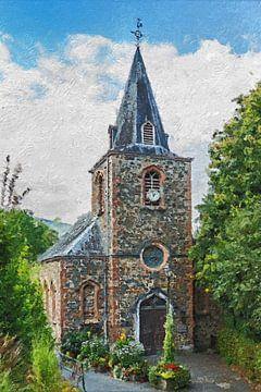Kerkje in de Belgische Ardennen (schilderij) van Art by Jeronimo