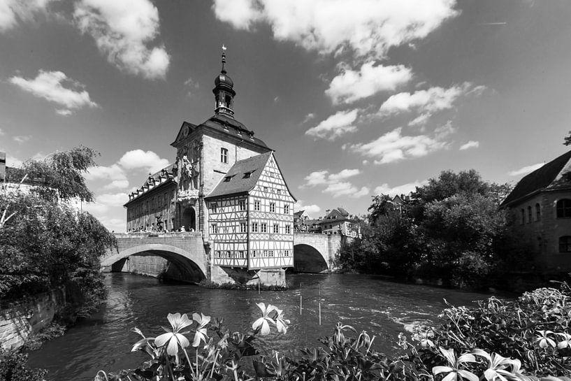 Bamberg - Oude Stadhuis zwart-wit van Frank Herrmann