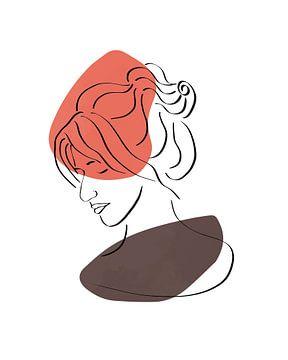 Vrouwelijk gezicht lijn tekening met twee vormen van Tanja Udelhofen