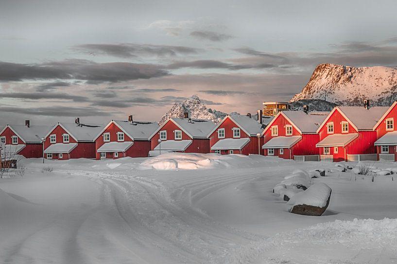 Rode huisjes in de sneeuw van Riccardo van Iersel