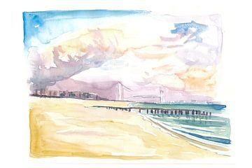 Staten Island Beach mit Manhattan Blick auf NYC von Markus Bleichner