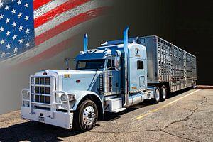 Amerikaanse Truck, Peterbilt, met veetransport-trailer.