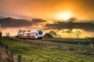 Trein in de avond zon