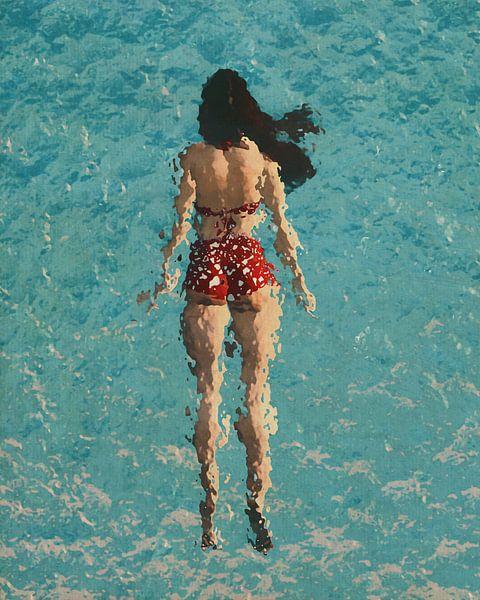 Fille nageant dans la mer sur Jan Keteleer