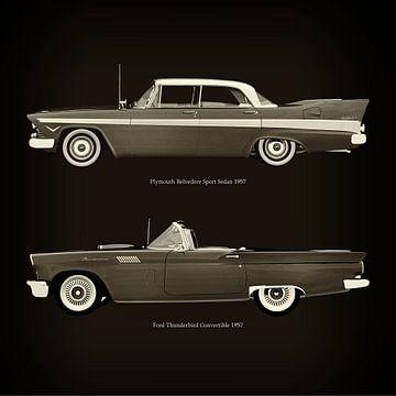 Plymouth Belvedere Sport Sedan 1957 en Ford Thunderbird Cabriolet 1957