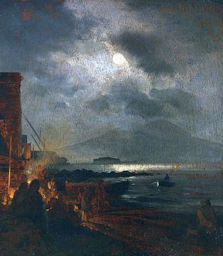 Fischer in der Bucht von Neapel bei Mondschein, OSWALD ACHENBACH, 1885 von Atelier Liesjes