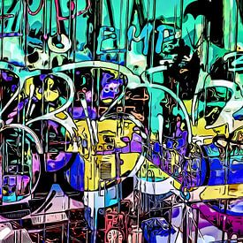 Graffiti aan de haven - motief 4 van zam art