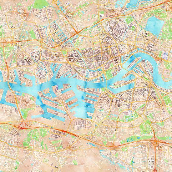 Kaart Rotterdam in waterverf van Creatieve Wereldkaarten