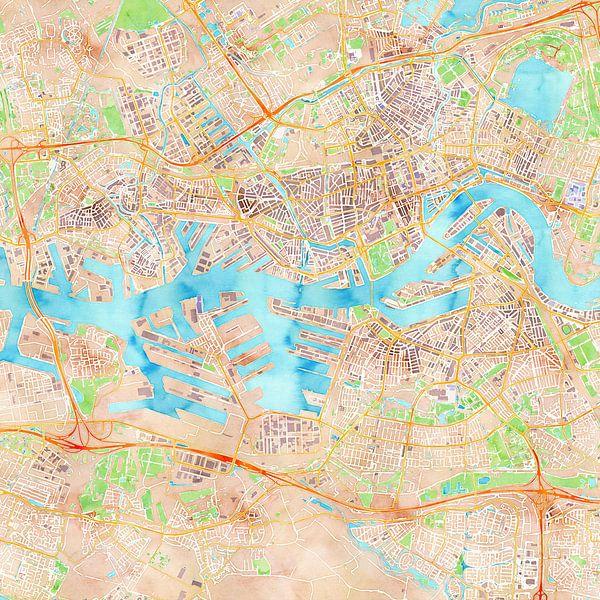 Kaart Rotterdam in waterverf van Creatieve Kaarten