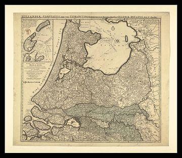 Karte der Provinzen von Holland um 1740 von Gert Hilbink