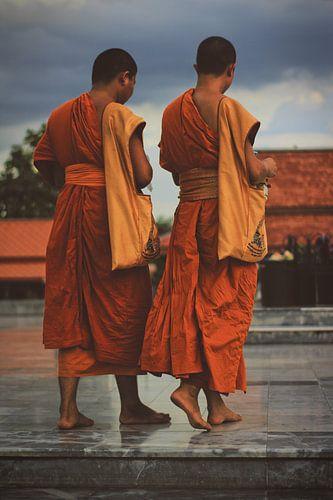 Twee boeddhisten in Thailand van