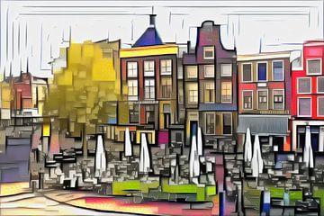 Die drei Schwestern von Groningen im Stil von Mondriaan von Slimme Kunst.nl