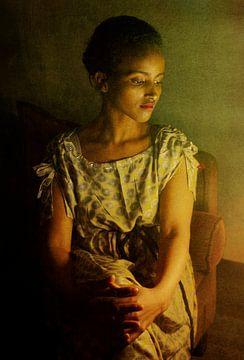 Portret bij kaarslicht van Marijke van Loon