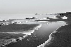Strandblick in schwarzweiß