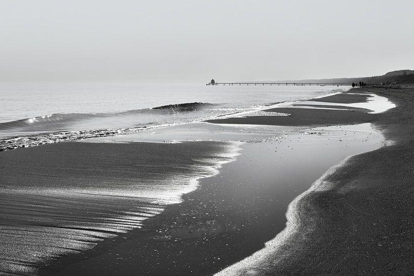Strandzicht in zwart-wit van Ralf Lehmann