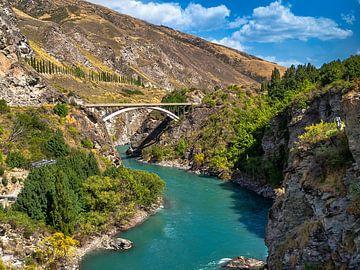 Viaduct over een ravijn nabij Queenstown Nieuw-Zeeland van Rik Pijnenburg