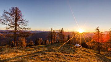 """Berglandschap """"Zonsondergang op de Ahorneggalm"""" van Coen Weesjes"""