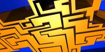 Tha Maze 2 van Pat Bloom - Moderne 3d en abstracte kubistiche kunst